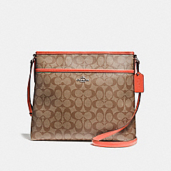 FILE BAG IN SIGNATURE CANVAS - KHAKI/ORANGE RED/SILVER - COACH F58297