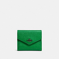 SMALL WALLET - DARK GUNMETAL/GRASS GREEN - COACH F58298