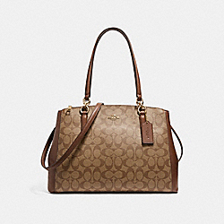 COACH CHRISTIE CARRYALL IN SIGNATURE COATED CANVAS - LIGHT GOLD/KHAKI - F58305