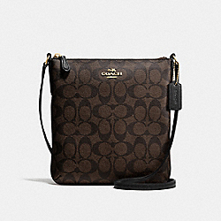 NORTH/SOUTH CROSSBODY IN SIGNATURE - f58309 - IMITATION GOLD/BROWN/BLACK