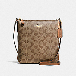 NORTH/SOUTH CROSSBODY IN SIGNATURE - f58309 - IMITATION GOLD/KHAKI/SADDLE