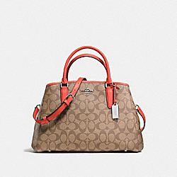 COACH SMALL MARGOT CARRYALL IN SIGNATURE COATED CANVAS - SILVER/KHAKI - F58310