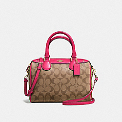 MINI BENNETT SATCHEL IN SIGNATURE COATED CANVAS - f58312 - IMITATION GOLD/KHAKI/BRIGHT PINK