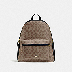 CHARLIE BACKPACK IN SIGNATURE CANVAS - KHAKI/BLACK/IMITATION GOLD - COACH F58314