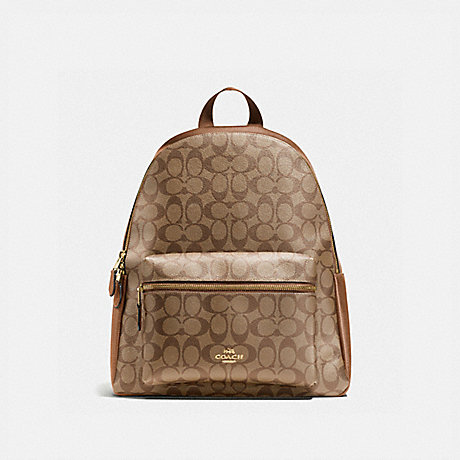 COACH CHARLIE BACKPACK IN SIGNATURE CANVAS - KHAKI/SADDLE 2/LIGHT GOLD - F58314