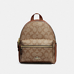 COACH MINI CHARLIE BACKPACK IN SIGNATURE CANVAS - KHAKI/SADDLE 2/LIGHT GOLD - F58315