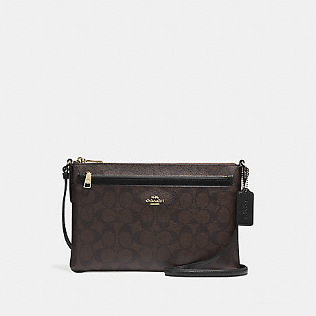 COACH EAST/WEST CROSSBODY WITH POP UP POUCH IN SIGNATURE - IMITATION GOLD/BROWN/BLACK - f58316
