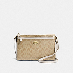 EAST/WEST CROSSBODY WITH POP UP POUCH IN SIGNATURE - f58316 - IMITATION GOLD/LIGHT KHAKI/CHALK