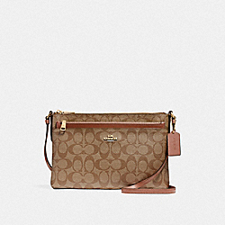 COACH EAST/WEST CROSSBODY WITH POP-UP POUCH IN SIGNATURE COATED CANVAS - LIGHT GOLD/KHAKI - F58316