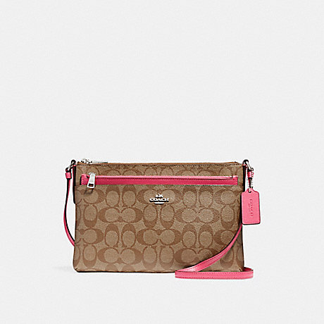 COACH f58316 EAST/WEST CROSSBODY WITH POP-UP POUCH SILVER/KHAKI/MAGENTA