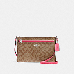 COACH F58316 - EAST/WEST CROSSBODY WITH POP-UP POUCH SILVER/KHAKI/MAGENTA