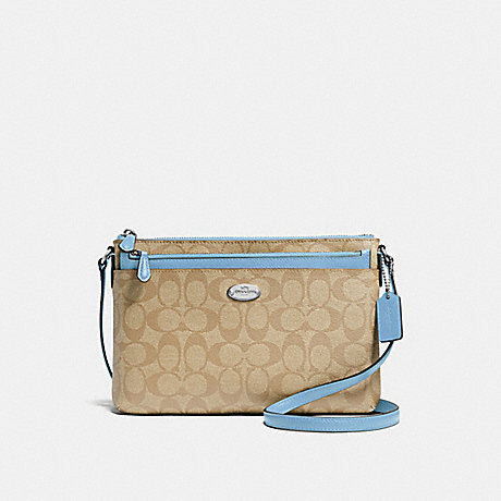 COACH EAST/WEST CROSSBODY WITH POP-UP POUCH IN SIGNATURE - SILVER/LIGHT KHAKI/CORNFLOWER - f58316