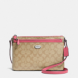 EAST/WEST CROSSBODY WITH POP UP POUCH IN SIGNATURE - f58316 - SILVER/LIGHT KHAKI/STRAWBERRY