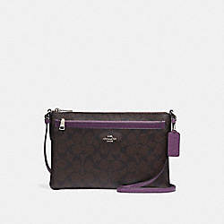 EAST/WEST CROSSBODY WITH POP-UP POUCH - SILVER/BROWN - COACH F58316