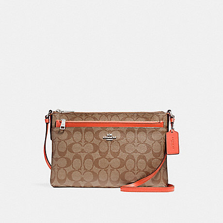 COACH f58316 EAST/WEST CROSSBODY WITH POP-UP POUCH KHAKI/ORANGE RED/SILVER