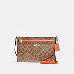 EAST/WEST CROSSBODY WITH POP-UP POUCH - KHAKI/ORANGE RED/SILVER - COACH F58316