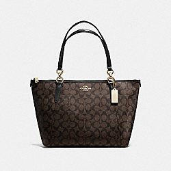 AVA TOTE IN SIGNATURE - f58318 - IMITATION GOLD/BROWN/BLACK