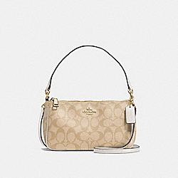 COACH MESSICO TOP HANDLE POUCH IN SIGNATURE - IMITATION GOLD/LIGHT KHAKI/CHALK - F58321