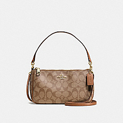 COACH TOP HANDLE POUCH IN SIGNATURE COATED CANVAS - LIGHT GOLD/KHAKI - F58321