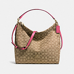 CELESTE CONVERTIBLE HOBO IN OUTLINE SIGNATURE - f58327 - IMITATION GOLD/KHAKI STRAWBERRY