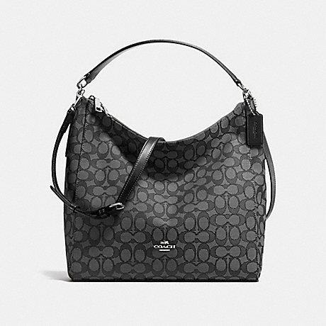 COACH CELESTE CONVERTIBLE HOBO IN OUTLINE SIGNATURE - SILVER/BLACK SMOKE/BLACK - f58327