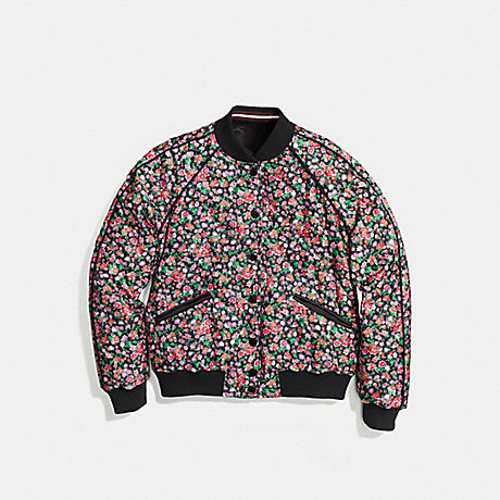 COACH REVERSIBLE FLORAL VARSITY JACKET - BLACK PINK MULTI - f58339