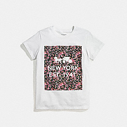 COACH FLORAL T-SHIRT - WHITE PINK MULTI - F58343