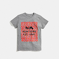 FLORAL T-SHIRT - f58343 - GREY RED MULTI