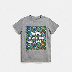 FLORAL T-SHIRT - f58343 - GREY BLUE MULTI