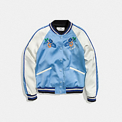 COACH EMBROIDERED VARSITY JACKET - BLUE JEAN - F58344