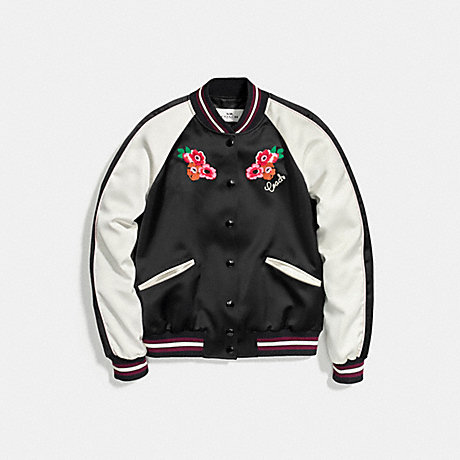 COACH EMBROIDERED VARSITY JACKET - BLACK - f58344