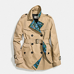 FLORAL BLOCKED SHORT TRENCH - f58345 - CHALK KHAKI BLUE