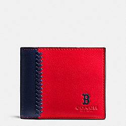 MLB 3-IN-1 WALLET IN SMOOTH CALF LEATHER - f58376 - BOS RED SOX