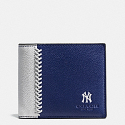 MLB 3-IN-1 WALLET IN SMOOTH CALF LEATHER - f58376 - NY YANKEES