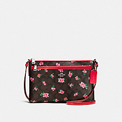 EAST/WEST CROSSBODY WITH POP-UP POUCH IN FLORAL LOGO PRINT LEATHER - f58383 - SILVER/BROWN RED MULTI