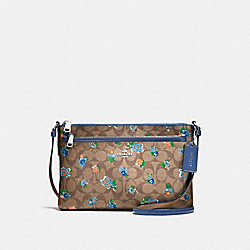 EAST/WEST CROSSBODY WITH POP-UP POUCH IN FLORAL LOGO PRINT LEATHER - f58383 - SILVER/KHAKI BLUE MULTI