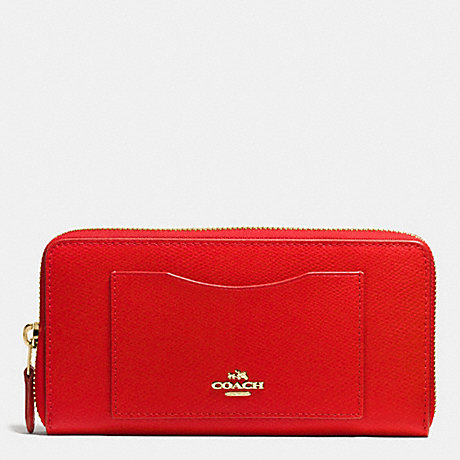 COACH ACCORDION ZIP WALLET IN CROSSGRAIN LEATHER - IMITATION GOLD/CARDINAL - f58411
