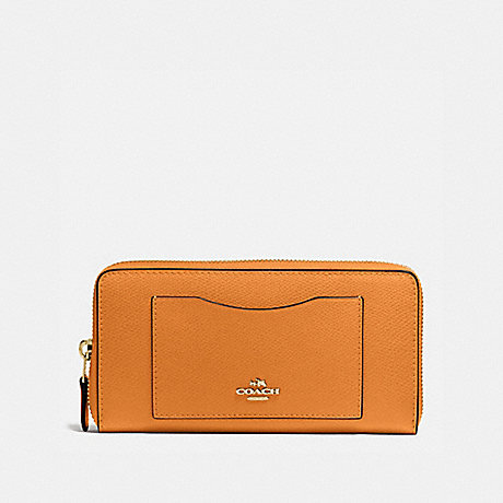 COACH ACCORDION ZIP WALLET IN CROSSGRAIN LEATHER - IMITATION GOLD/ORANGE PEEL - f58411