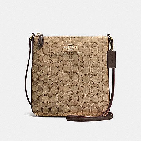 COACH NORTH/SOUTH CROSSBODY IN OUTLINE SIGNATURE JACQUARD - IMITATION GOLD/KHAKI/BROWN - f58421