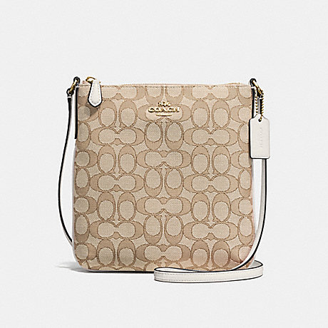 COACH NORTH/SOUTH CROSSBODY IN OUTLINE SIGNATURE JACQUARD - IMITATION GOLD/LIGHT KHAKI/CHALK - f58421