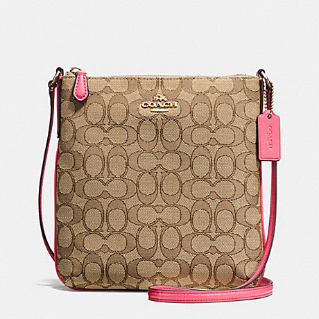 COACH NORTH/SOUTH CROSSBODY IN OUTLINE SIGNATURE - IMITATION GOLD/KHAKI STRAWBERRY - f58421