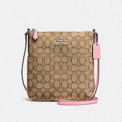 NORTH/SOUTH CROSSBODY IN OUTLINE SIGNATURE JACQUARD - f58421 - SILVER/KHAKI/BLUSH