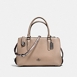 BROOKLYN CARRYALL 28 IN COLORBLOCK WITH SNAKESKIN - STONE/CHESTNUT/DARK GUNMETAL - COACH F58437
