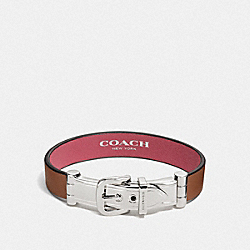WIDE TWO TONE BUCKLE BRACELET - SILVER/SADDLE - COACH F58439