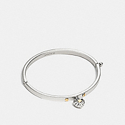 COACH DAISY RIVET HEART HINGED BANGLE - SILVER/MULTICOLOR - F58465