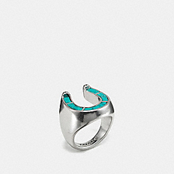 COACH WESTERN HORSESHOE RING - SILVER/TURQUOISE - F58480