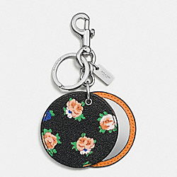 COACH FLORAL DISC MIRROR BAG CHARM - SILVER/BLACK LEAF - F58500