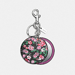 COACH FLORAL DISC MIRROR BAG CHARM - SILVER/STRAWBERRY HYACINTH - F58500
