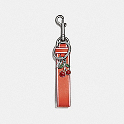 COACH CHARM LOOP BAG CHARM - ORANGE RED/SILVER - F58502
