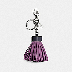 COACH LEATHER TASSEL BAG CHARM - SILVER/MIDNIGHT NAVY - F58505